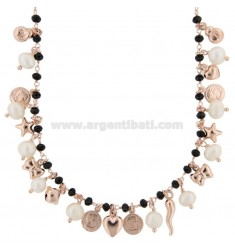 NECKLACE WITH COINS, STARS, CHARMS, STONES AND PEARLS PENDANTS IN SILVER ROSE TIT 925 ‰ CM 36-39