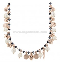 NECKLACE WITH COINS, STARS, CHARMS, STONES AND PEARLS PENDANTS IN SILVER ROSE TIT 925 ‰ CM 38-42