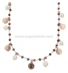 NECKLACE WITH COINS, STONES AND PEARLS PENDANTS IN SILVER ROSE TIT 925 70 CM 70