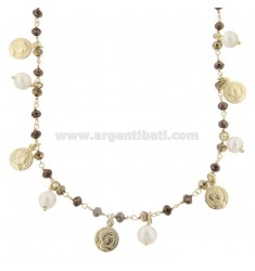 NECKLACE WITH COINS, STONES AND PEARLS IN GOLDEN SILVER TIT 925 70 CM 70