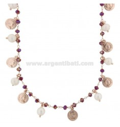 NECKLACE WITH COINS, STONES AND PEARLS PENDANTS IN SILVER ROSE TIT 925 ‰ CM 38-44