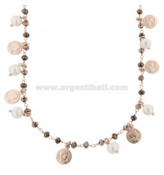 NECKLACE WITH COINS, STONES AND PEARLS PENDANTS IN SILVER ROSE TIT 925 ‰ CM 38-42
