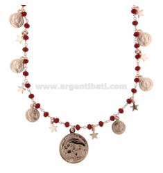 NECKLACE WITH COINS, STARS AND STONES IN SILVER ROSE TIT 925 70 CM 70