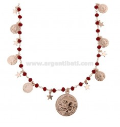 NECKLACE WITH COINS, STARS AND STONES IN SILVER ROSE TIT 925 ‰ CM 38-42