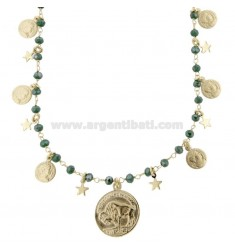 NECKLACE WITH COINS, STARS AND STONES IN GOLDEN SILVER TIT 925 38 CM 38-42
