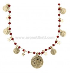 NECKLACE WITH COINS, STARS AND STONES IN GOLDEN SILVER TIT 925 70 CM 70