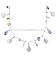 NECKLACE WITH COINS AND STONES IN SILVER RHODIUM TIT 925 ‰ CM 40
