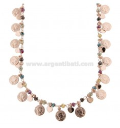 NECKLACE WITH COINS, HEARTS AND STONES IN SILVER ROSE TIT 925 ‰ CM 40