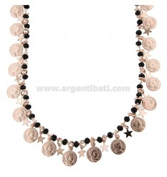 NECKLACE WITH COINS, STARS AND STONES IN SILVER ROSE TIT 925 ‰ CM 40-45