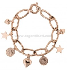 GROUMETTE RADA BRACELET WITH COINS, STARS AND HEARTS IN SILVER ROSE TIT 925 ‰ CM 18-20