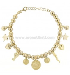 BALL BRACELET WITH COINS AND CHARMS IN GOLDEN SILVER TIT 925 ‰ AND ZIRCONIA CM 18-20