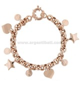 ROLO BRACELET 'WITH COINS, HEARTS AND STARS IN SILVER ROSE TIT 925 ‰ CM 18-20