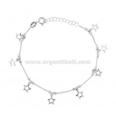 CABLE BRACELET WITH BALLS AND STARS IN RHODIUM SILVER TIT 925 ‰ CM 18-20