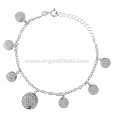 ROLO BRACELET 'WITH PENDANT COINS IN SILVER RHODIUM TIT 925 ‰ CM 18-20