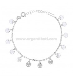 ROLO BRACELET 'WITH HEARTS IN THE PENDANT CIRCLE IN RHODIUM SILVER TIT 925 ‰ CM 18-20
