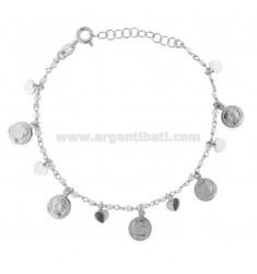 BRACELET WITH COINS, HEARTS AND PEARLS PENDANTS IN SILVER RHODIUM TIT 925 ‰ CM 17-20