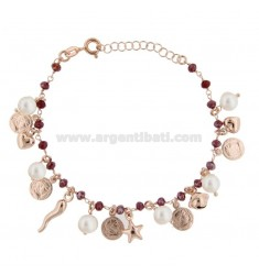 BRACELET WITH COINS, STARS, CHARMS, STONES AND PEARLS SILVER ROSE TIT 925 ‰ CM 17-19
