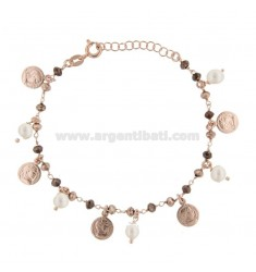 BRACELET WITH COINS, STONES AND PEARLS PENDANTS IN SILVER ROSE TIT 925 ‰ CM 17-19