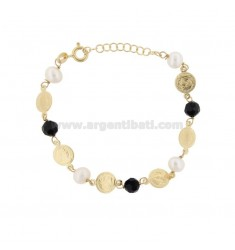 BRACELET WITH COINS, STONES AND PEARLS IN GOLDEN SILVER TIT 925 ‰ CM 17-19
