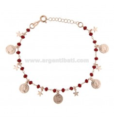 BRACELET WITH COINS, STARS AND STONES IN SILVER ROSE TIT 925 ‰ CM 17-19