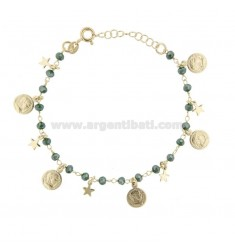 BRACELET WITH COINS, STARS AND STONES IN GOLDEN SILVER TIT 925 ‰ CM 17-19