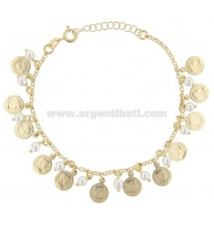 BRACELET WITH COINS, STARS AND PEARLS IN GOLDEN SILVER TIT 925 17 CM 17-20