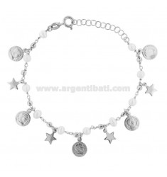 ROLO BRACELET 'WITH COINS, STARS AND PEARLS PENDANTS IN SILVER RHODIUM TIT 925 ‰ CM 17-19
