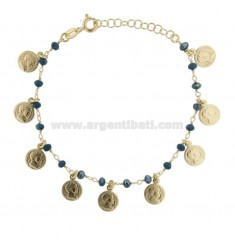 BRACELET WITH COINS AND STONES IN GOLDEN SILVER TIT 925 ‰ CM 17-20