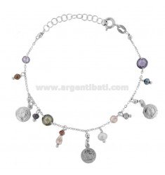 BRACELET WITH COINS AND STONES IN RHODIUM SILVER TIT 925 ‰ CM 17-19