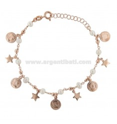 ROLO BRACELET 'WITH COINS, STARS AND PEARLS SILVER ROSE TIT 925 ‰ CM 17-19