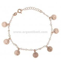 ROLO BRACELET 'WITH COINS AND PEARLS PENDANTS IN SILVER ROSE TIT 925 ‰ CM 17-20