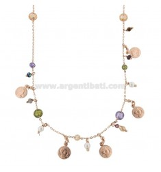 NECKLACE WITH COINS AND STONES IN SILVER ROSE TIT 925 ‰ CM 40