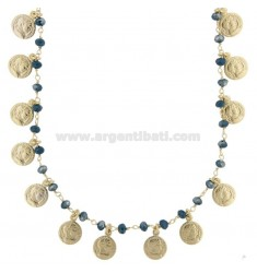 NECKLACE WITH COINS AND STONES IN GOLDEN SILVER TIT 925 70 CM 70