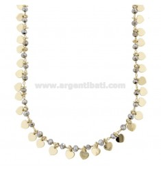 NECKLACE WITH HEARTS AND STONES IN GOLDEN SILVER TIT 925 38 CM 38-42