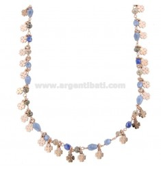 NECKLACE WITH QUADRIFOGLI AND PENDING STONES IN SILVER ROSE TIT 925 ‰ CM 38-42