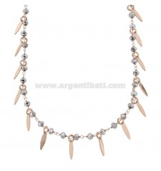 NECKLACE WITH DOLLS AND PENDANT STONES IN ROSE SILVER TIT 925 ‰ CM 38-42