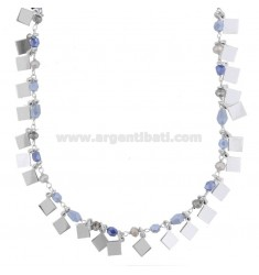 NECKLACE WITH SQUARES AND STONES IN SILVER RHODIUM TIT 925 ‰ CM 38-42