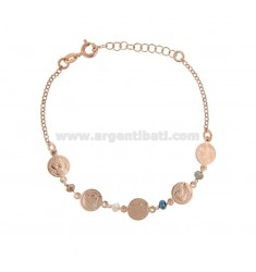 BRACELET WITH COINS AND STONES IN SILVER ROSE TIT 925 ‰ CM 17-20