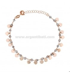 BRACELET WITH HEARTS AND PENDANT STONES IN ROSE SILVER TIT 925 ‰ CM 17-19