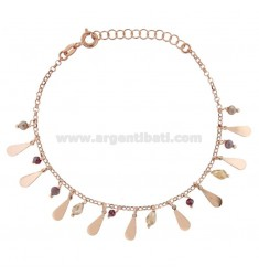 BRACELET WITH DROPS AND PENDANT STONES IN ROSE SILVER TIT 925 ‰ CM 17-19
