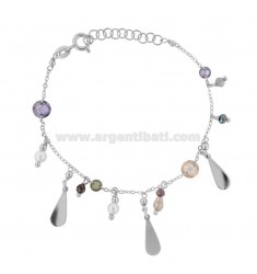 BRACELET WITH DROPS AND PENDING STONES IN RHODIUM SILVER TIT 925 ‰ CM 17-19