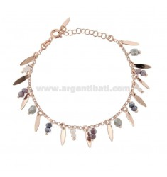 BRACELET WITH DOLLS AND PENDANT STONES IN ROSE SILVER TIT 925 ‰ CM 17-19