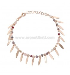 BRACELET WITH DOLLS AND PENDANT STONES IN ROSE SILVER TIT 925 ‰ CM 17-20