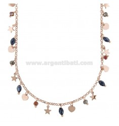 NECKLACE WITH HEARTS, STARS AND STONES IN SILVER ROSE TIT 925 ‰ CM 38-42