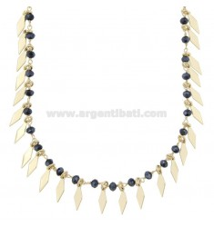 NECKLACE WITH RUBBER AND PENDANT STONES IN GOLDEN SILVER TIT 925 38 CM 38-42