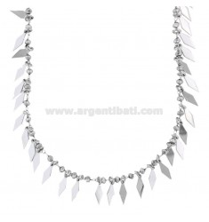 NECKLACE WITH RUBBER AND STONES IN SILVER RHODIUM TIT 925 ‰ CM 38-42