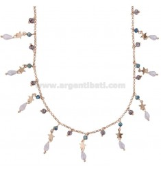 NECKLACE WITH STARS AND PENDANT STONES IN SILVER ROSE TIT 925 ‰ CM 40-45