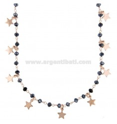 NECKLACE WITH STARS AND PENDANT STONES IN ROSE SILVER TIT 925 70 CM 70