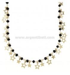 NECKLACE WITH STARS AND PENDANT STONES IN GOLDEN SILVER TIT 925 38 CM 38-42