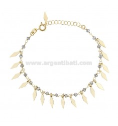 BRACELET WITH ROMBI AND PENDANT STONES IN GOLDEN SILVER TIT 925 ‰ CM 17-20
